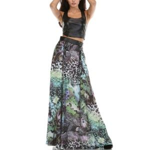 NWT Tov Holy Animal Print Wild Side Maxi Skirt L